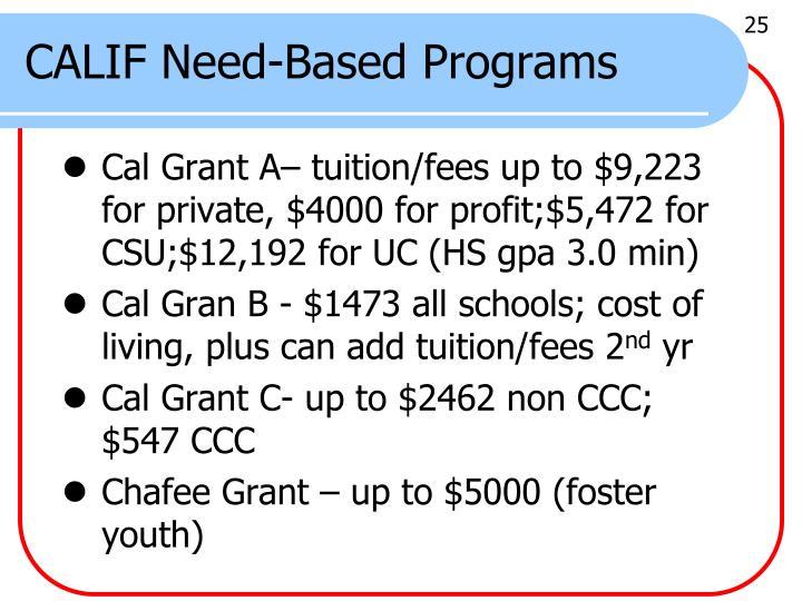 CALIF Need-Based Programs