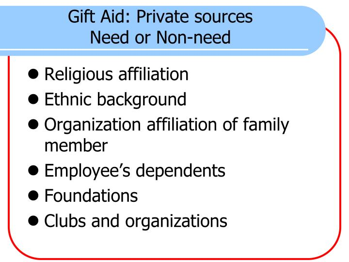 Gift Aid: Private sources
