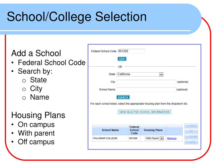 School/College Selection