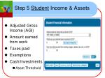 step 5 student income assets