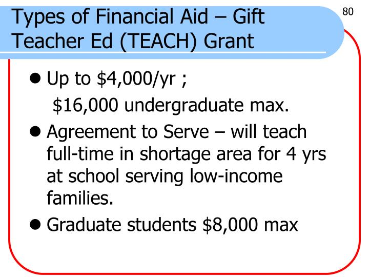 Types of Financial Aid – Gift Teacher Ed (TEACH) Grant
