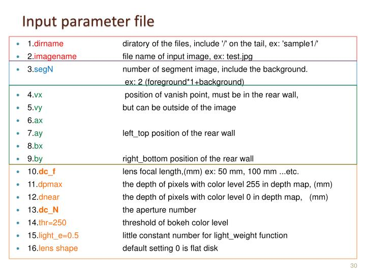 Input parameter file