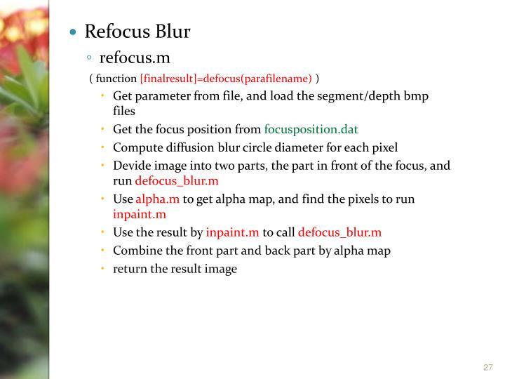 Refocus Blur