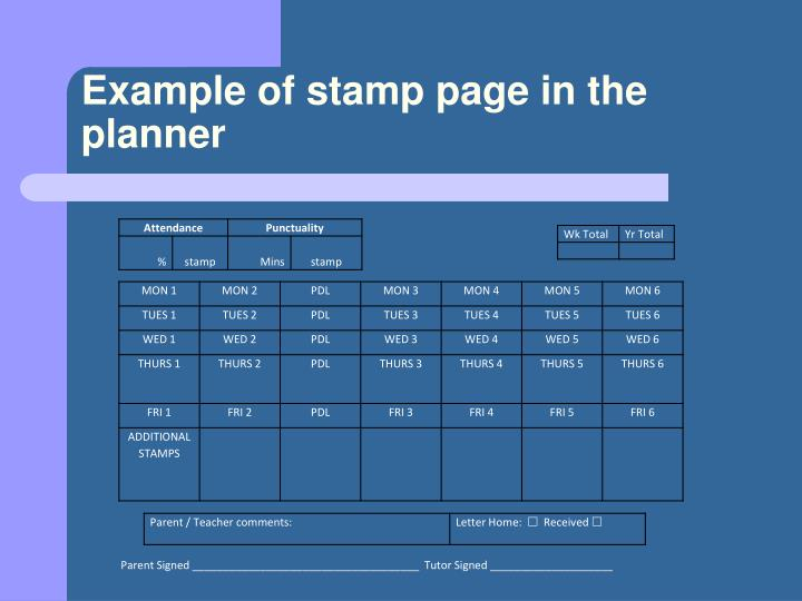 Example of stamp page in the planner