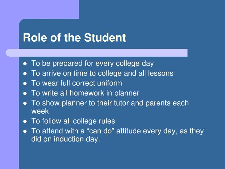 Role of the Student