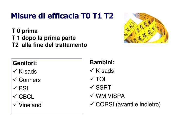 Misure di efficacia T0 T1 T2