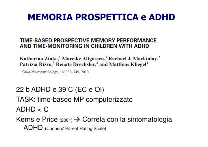 MEMORIA PROSPETTICA e ADHD