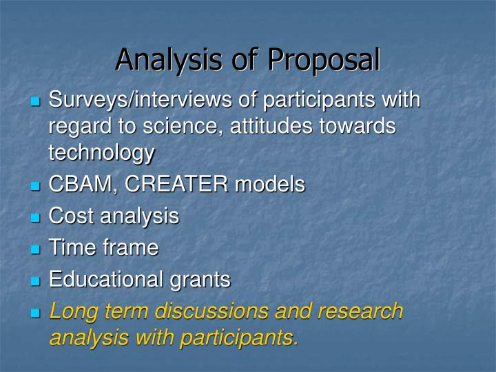 Analysis of Proposal