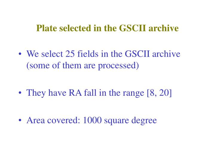 Plate selected in the GSCII archive