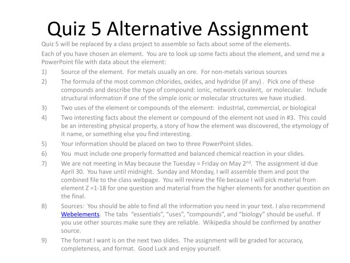 quiz 5 alternative assignment