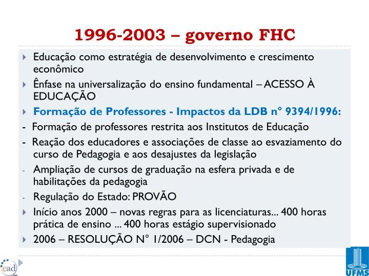 1996-2003 – governo FHC