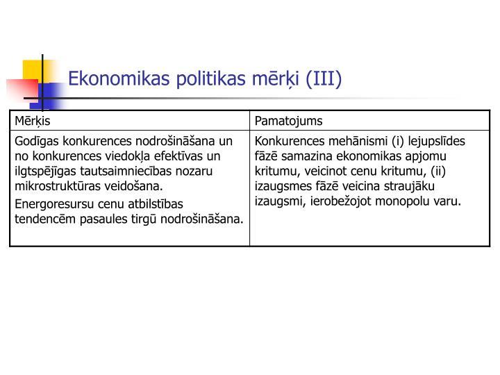 Ekonomikas politikas mērķi (III)