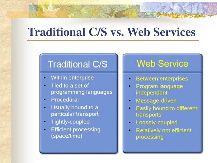 Traditional C/S vs. Web Services
