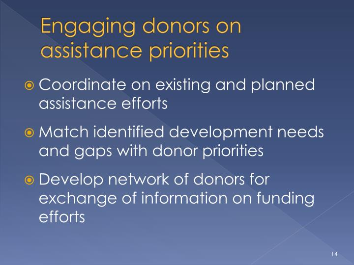 Engaging donors on assistance priorities