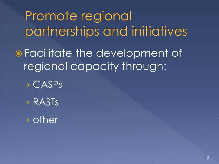 Promote regional partnerships and initiatives