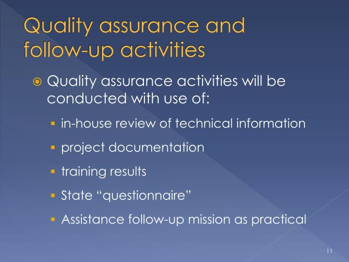 Quality assurance and