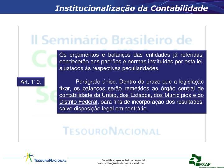 Institucionalização da Contabilidade
