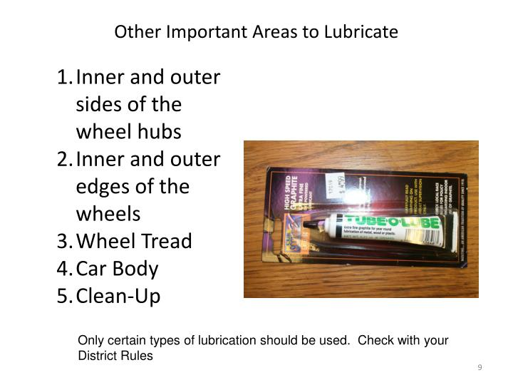 Other Important Areas to Lubricate