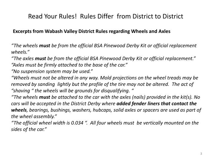 Read Your Rules!  Rules Differ  from District to District