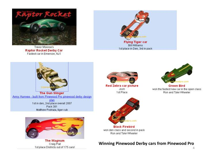 Winning Pinewood Derby cars from Pinewood Pro