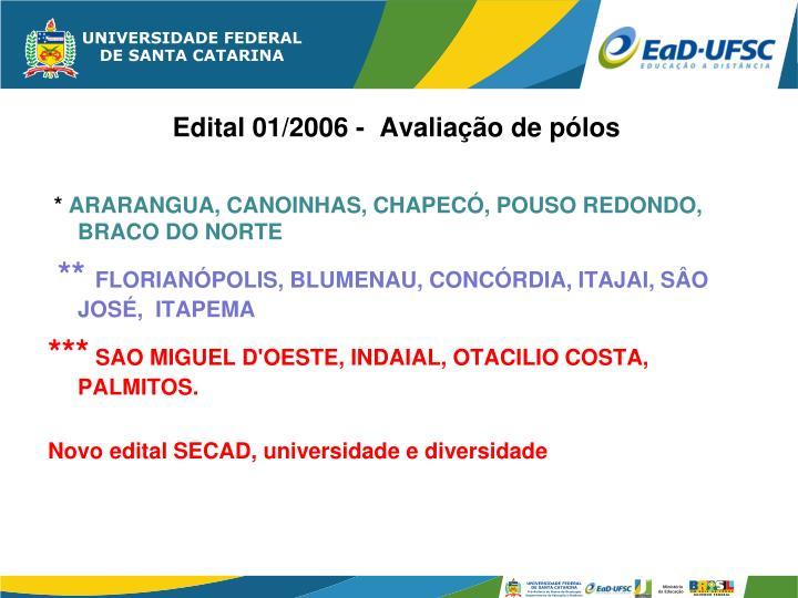 Edital 01/2006 -  Avaliação de pólos