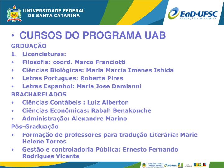 CURSOS DO PROGRAMA UAB