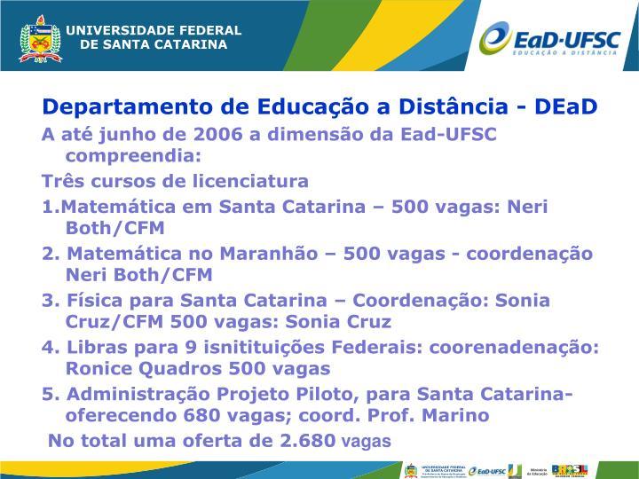 A até junho de 2006 a dimensão da Ead-UFSC compreendia: