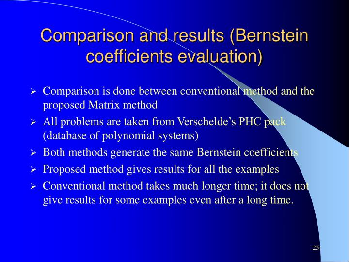Comparison and results (Bernstein coefficients evaluation)