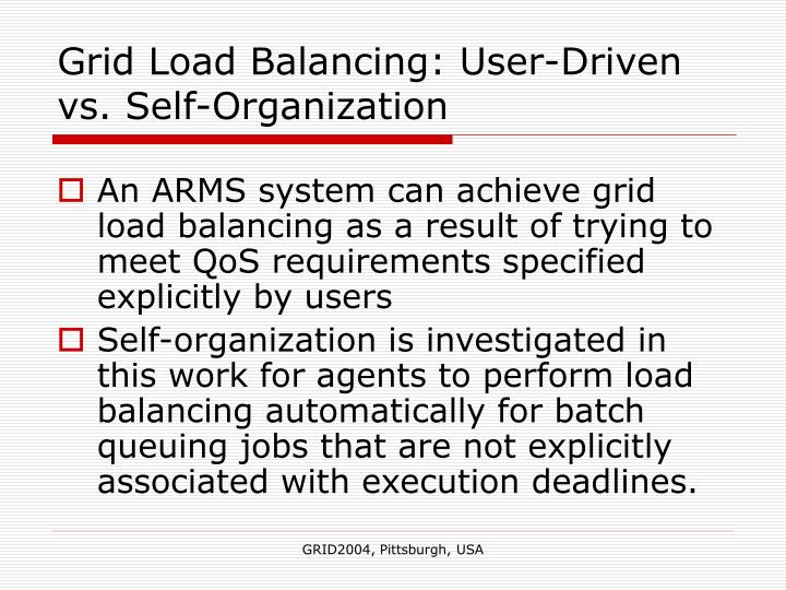 Grid Load Balancing: User-Driven vs. Self-Organization