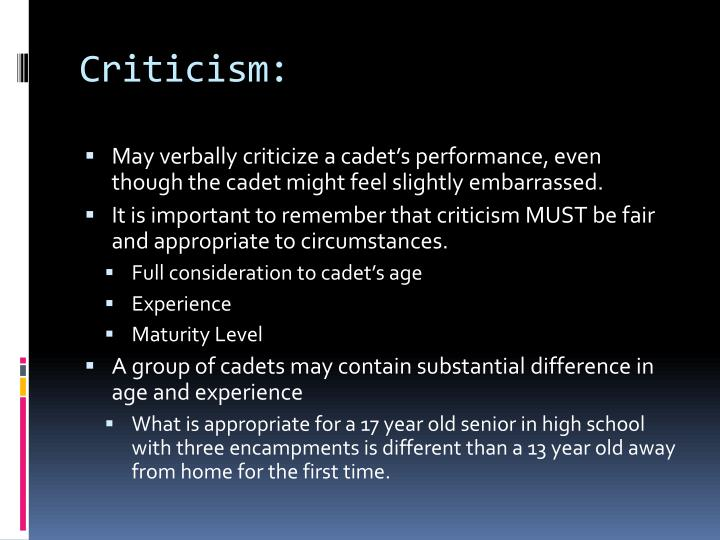Criticism: