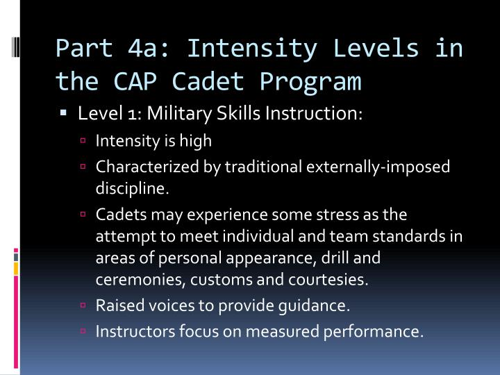 Part 4a: Intensity Levels in the CAP Cadet Program