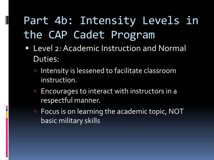 Part 4b: Intensity Levels in the CAP Cadet Program