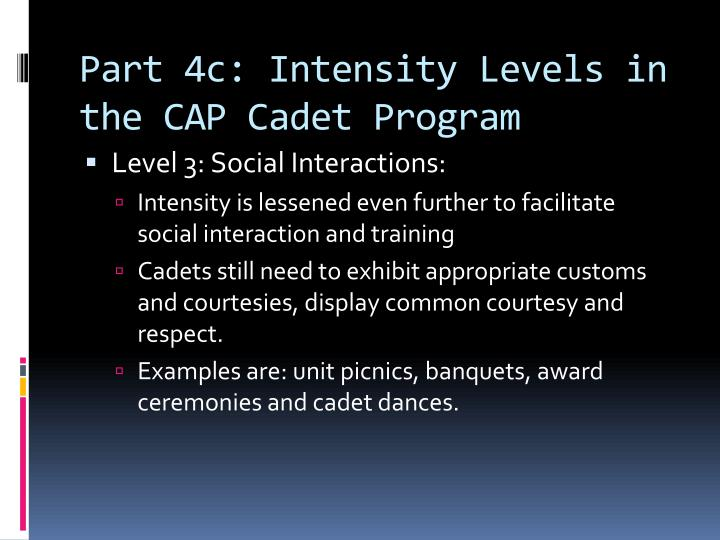 Part 4c: Intensity Levels in the CAP Cadet Program