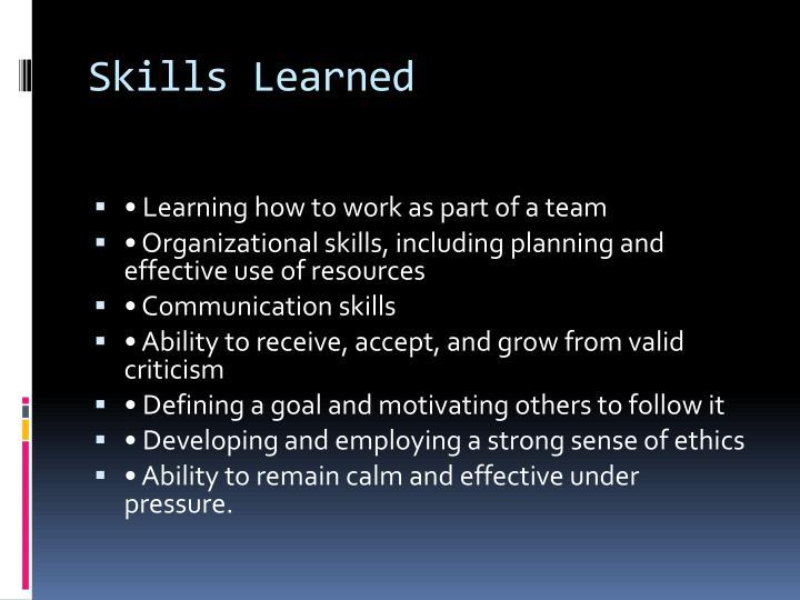 Skills Learned