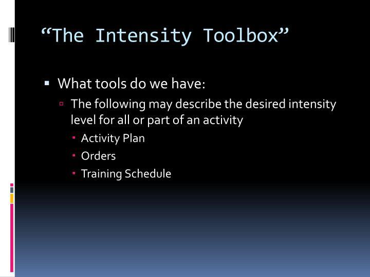 """The Intensity Toolbox"""