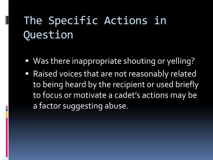 The Specific Actions in Question