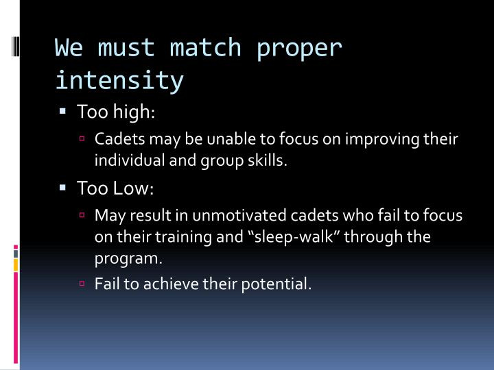 We must match proper intensity