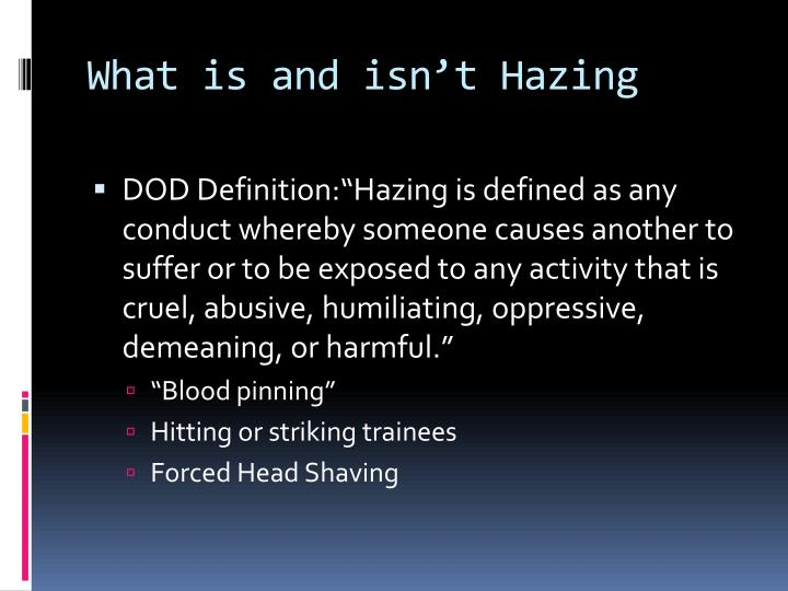 What is and isn't Hazing