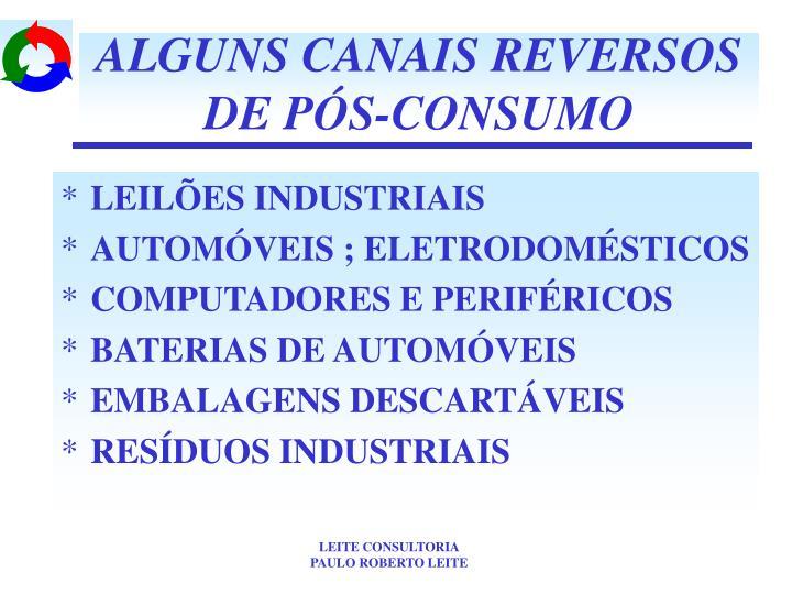 ALGUNS CANAIS REVERSOS DE PÓS-CONSUMO