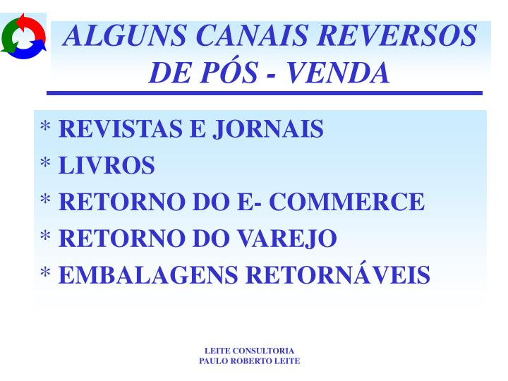 ALGUNS CANAIS REVERSOS DE PÓS - VENDA