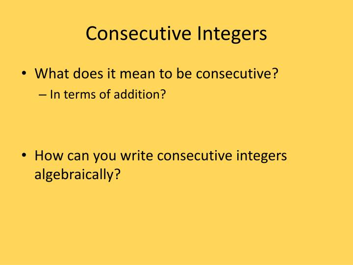 Consecutive Integers