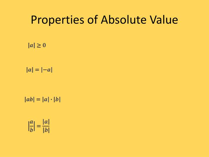 Properties of Absolute Value