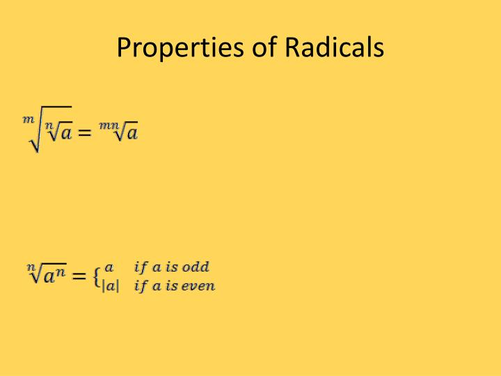Properties of Radicals