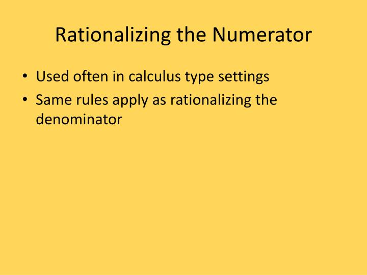 Rationalizing the Numerator