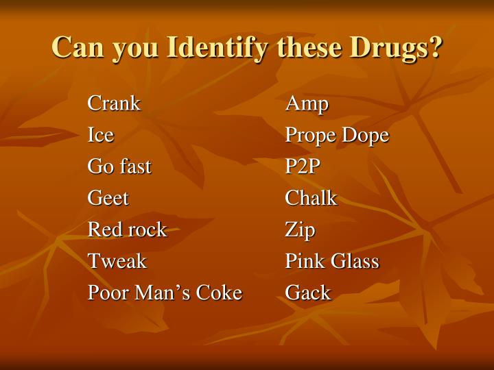 Can you Identify these Drugs?