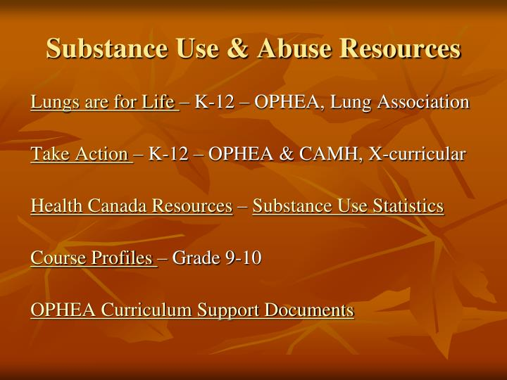 Substance Use & Abuse Resources