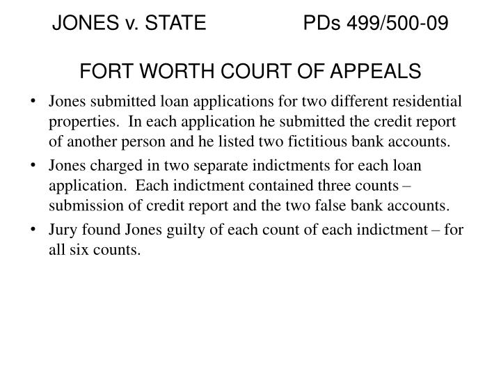 JONES v. STATEPDs 499/500-09