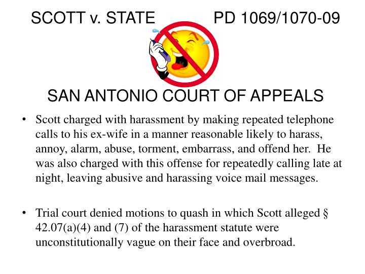 SCOTT v. STATEPD 1069/1070-09
