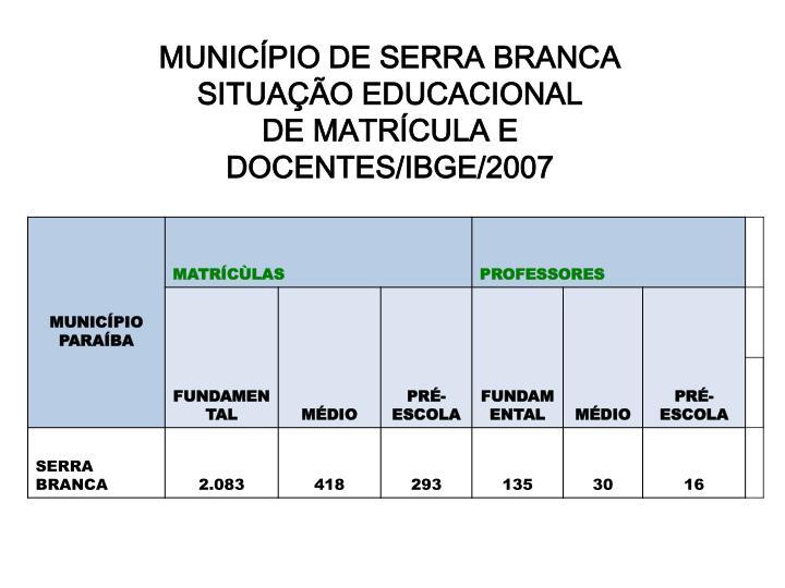 MUNICÍPIO DE SERRA BRANCA SITUAÇÃO EDUCACIONAL
