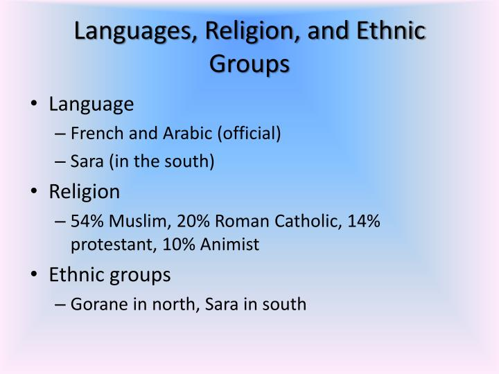 Languages, Religion, and Ethnic Groups